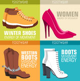 Flat illustration set of shoe equpment backgrounds. Vector illustration elements icons. Colorful template for you design Royalty Free Stock Image