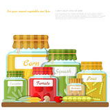 Flat illustration of shelf with glass jars of different canned vegetables Royalty Free Stock Photo