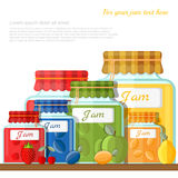 Flat illustration of shelf with glass jars of different fruit jam Royalty Free Stock Photography