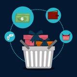 Flat illustration of shopping design Stock Photography