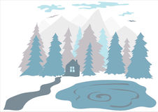 Flat illustration of a small house in the forest near the lake. With mountains on the background Royalty Free Stock Images