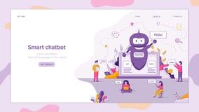 Flat Illustration Smart Chatbot Welcomes Customer stock illustration