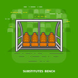 Flat illustration of soccer substitutes bench against green Royalty Free Stock Photos