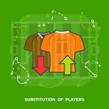 Flat illustration of soccer substitution against green Stock Photos