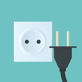Flat illustration with sockets and plugs Royalty Free Stock Photography