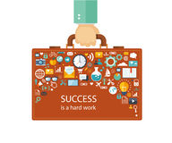 Flat illustration of success. Office man with a briefcase and hi Stock Photography