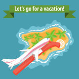 Flat illustration of summer holiday vacation Royalty Free Stock Images