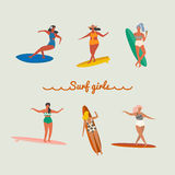 Flat illustration with surfer girls Stock Image