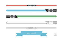 The flat illustration swords. Multi-colored flat swords and swords in the lines Stock Photos