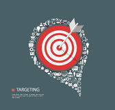 Flat illustration of targeting with icons Royalty Free Stock Image