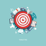 Flat illustration of targeting and time management with icons Stock Photos