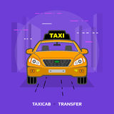 Flat illustration of taxi car against violet background Stock Photography