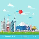 Flat illustration of Tokyo city in Japan.Japan landmarks Royalty Free Stock Image