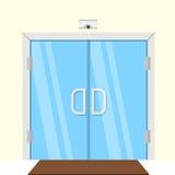 Flat illustration of transparent glass door Stock Photos