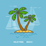 Flat illustration of tropical palm tree against blue background Stock Photo