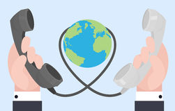 Flat illustration of two hands with old phones. Wire connections. Communication at a distance Stock Illustration