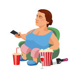 Flat illustration of unhealthy lifestyle and resting at home Royalty Free Stock Photography