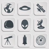 Flat illustration of various space elements Royalty Free Stock Photos