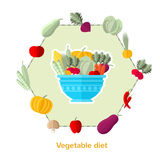 Flat illustration vegetable diet. Dish with different vegetables and others around isolated Stock Photo