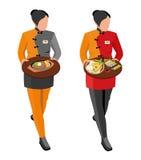 Flat illustration. Waitress girl in uniform. Isometric illustration Royalty Free Stock Photography