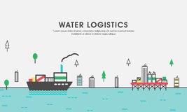 Flat illustration for Water Logistics Royalty Free Stock Image