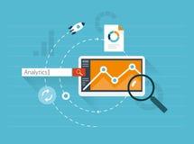 Flat illustration web analytics. Flat vector illustration of web analytics and website statistic Stock Photos