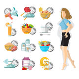 Flat illustration weight loss. Slender girl with different icons of her routine day Royalty Free Stock Photography