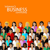 Flat  illustration of women business community.. Vector flat  illustration of women business community. a large group of business women or politicians.  summit Royalty Free Stock Photography