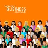 Flat  illustration of women business community.  Royalty Free Stock Photography