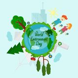Flat_1_ illustration world environment day. World environment day, Concept, green Eco Earth, vector illustration flat, grass, trees, ecology, symbol, world vector illustration