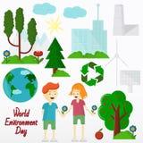 Flat illustration world environment day. World environment day, Concept, green Eco Earth, vector illustration flat, grass, trees, ecology, symbol, world stock illustration