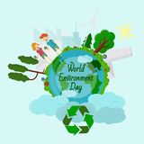 Flat_2_ illustration world environment day. World environment day, Concept, green Eco Earth, vector illustration flat, grass, trees, ecology, symbol, world vector illustration