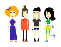 Flat illustration of young womans in various outfits Stock Photography