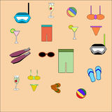 Flat illustrations of beach  Stock Images
