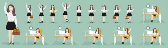 Flat illustrations of business woman character in various poses. royalty free illustration