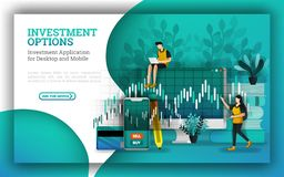 Flat Illustrations for leading mutual fund companies provide options to answer how to invest money. investing for beginners with b vector illustration
