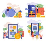 Flat illustrations with man and woman. Family budget stock illustration