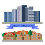 Flat illustrations urban and village landscapes Royalty Free Stock Images