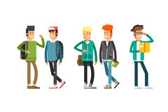 Flat illustratuion set of students Royalty Free Stock Photography