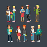 Flat illustratuion set of students Royalty Free Stock Images