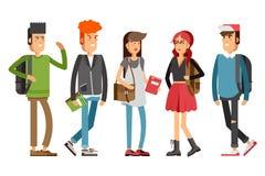 Flat illustratuion set of students Stock Images