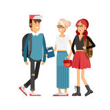 Flat illustratuion set of students Royalty Free Stock Photos