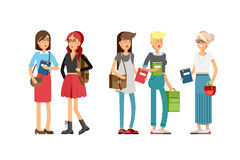 Flat illustratuion set of students Stock Image