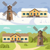 Flat image of rural houses and mills. Royalty Free Stock Images