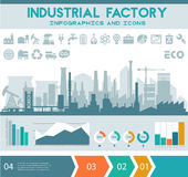 Flat industrial factory inforgraphics template Stock Image