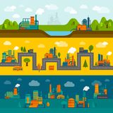 Flat industry banner set Stock Photography