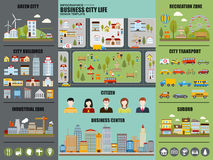 Flat infographic city life vector design Royalty Free Stock Photo