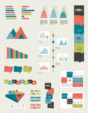 Flat infographic collection. Of charts, graphs, speech bubbles, schemes, diagrams. Trend color set. Rectangle design vector illustration