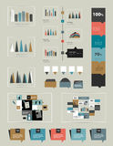 Flat infographic collection of charts, graphs, spe Stock Images