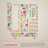 Flat infographic home appliance furniture icon template banner l Stock Image